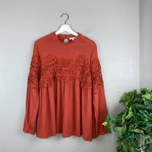 Jodifl Burnt Rust Orange Crochet Lace Boho Tunic